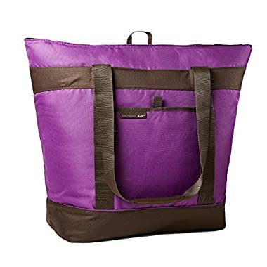 Rachael Ray Jumbo ChillOut Thermal Tote, XL Insulated Bag for Grocery Shopping/Entertaining, Transport Hot and Cold Food, Purple
