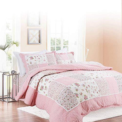 Rosa Floral Patchwork Edredón Throw 3PCS Reversible Colcha Ropa de cama acolchada Algodón Estilo rústico Fundas de cama Cobertor Manta Fundas de almohada, Adecuado para las cuatro estaciones, Rey: 230