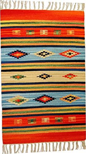 Tappeto Stuoia Passatoia 100% Cotone Kilim Indiano Etnico 6 Disegni 10 Misure ch (Disegno F, 60x90)