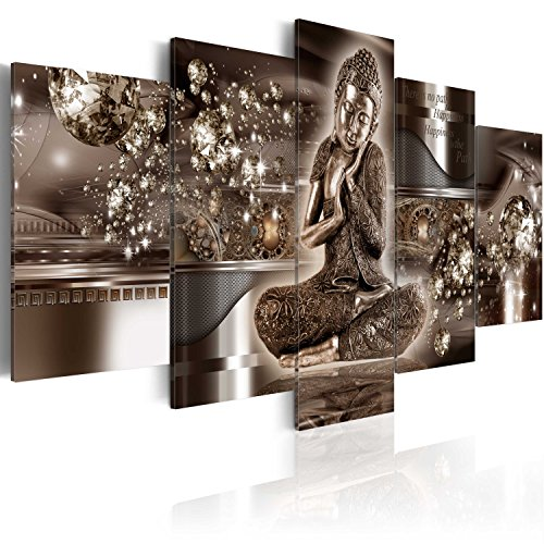 murando Acrylglasbild Abstrakt 200x100 cm 5 Teilig Wandbild auf Acryl Glas Bilder Kunstdruck Moderne Wanddekoration - Buddha Feng Shui Diamant Ornament Gold h-A-0053-k-n