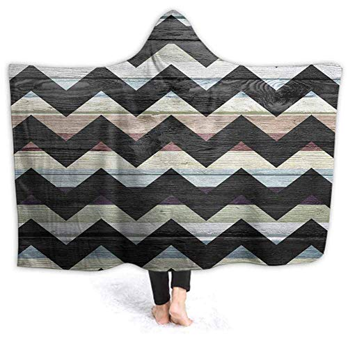 Xarchy Wearable Blanket Hoodie-Plush Warm Warmet Retro Argyle Fluffy Blankets for Bed Couch Travel, Throw Blankets 50W by 40H inches (with Hooded)