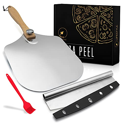 """Ignite Lifestyle Pizza Peel Set - Pizza Spatula 12""""x14"""" + Pizza Rocker Cutter + Pastry Brush - Aluminum Metal Pizza Peel 12 Inch w/Foldable Wood Handle for Easy Storage-Homemade for Pizza/Baking/Bread"""