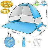 SLB Tienda de Playa - Refugio automático para el Sol con diseño de protección UV y Resistente al Agua, configuración fácil Sombrilla portátil para Actividades Familiares Camping (3 Personas) (Azul)