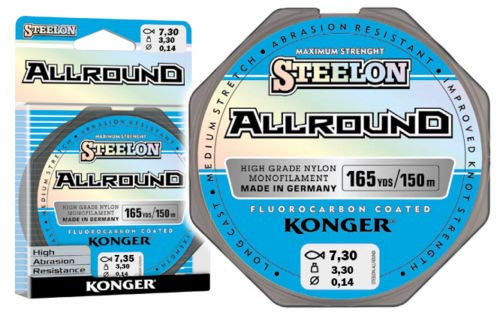 Konger Sedal de pesca Allround con revestimiento de fluorocarbono, bobina de 150 m, monofilamento (0,14 mm 3,30 kg)