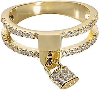 Jenna Hunter CZ Love Locket Ring للنساء 925 قاعدة من الفضة الإسترلينية مع أحجار زركونيا مكعب مقاسات 6-7