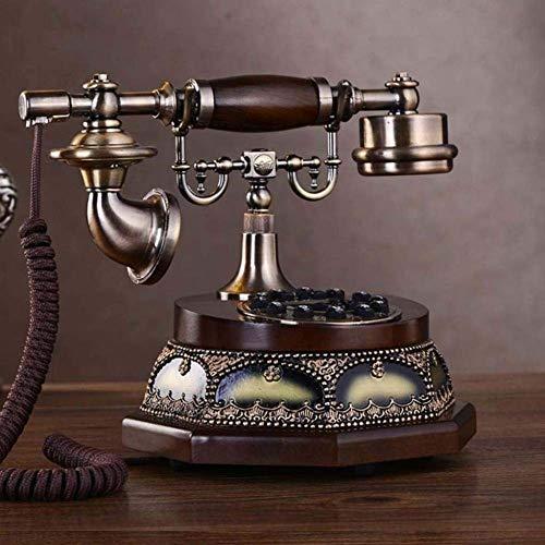 LXYZ Teléfono de Madera Teléfonos con Cable Teléfono de Estilo Retro/teléfono Vintage/botón de Tela Cordón de Timbre Tradicional Tono de Timbre Teléfonos para el hogar Cocina Hotel Oficina