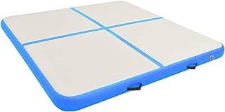 vidaXL Uppblåsbar gymnastikmatta med pump 200x200x10 cm PVC blå
