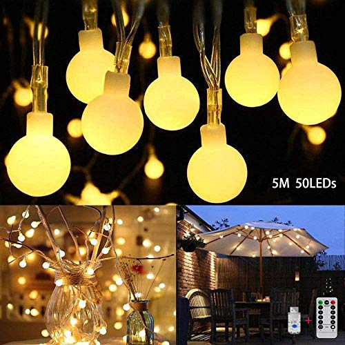 CMCQ Globe String Lights,50 LED Globe Fairy Lights USB Plug in Bedroom Fairy, 8 Modes with Remote Control,Warm White Decorative Light