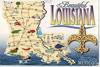 LOUISIANA STATE MAP GLOSSY POSTER PICTURE PHOTO new orleans big easy
