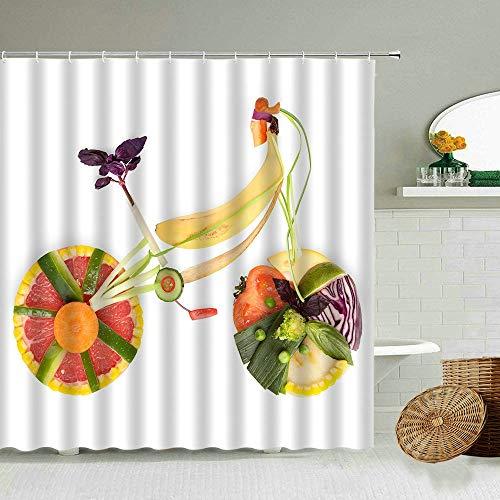 XCBN Sommerfrucht Orange Ananas Erdbeer Kirsche Muster Duschvorhang Set Kreative Lebensmittel Fahrrad Badezimmer Wasserdichter Display A6 180x200cm