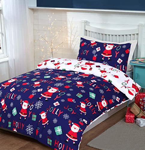 Night Comfort Kid's Eco Breathable Xmas Holly Jolly Christmas Santa Snowflakes Blue Cotton Blend Duvet Cover Bedding Set With Pillowcases (Double)
