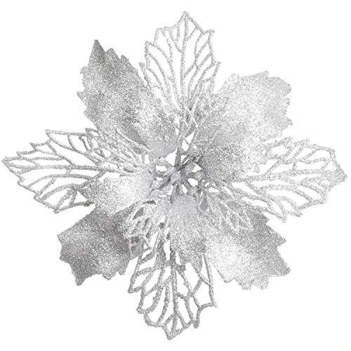 YQing 16 Stück Künstlich Poinsettia Blumen Weihnachten Dekoration, Glitzer Weihnachten Poinsettia Kunstblumen Weihnachten Deko für Weihnachtsbaum Weihnachtskranz Weihnachtsschmuck (Silber)