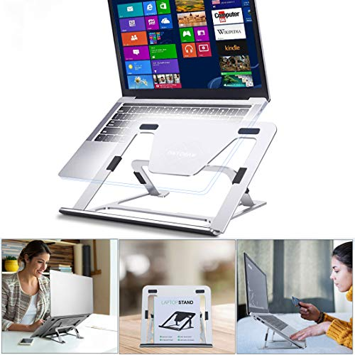 Einstellbarer Laptop Ständer, Faltbarer Aluminiumlegierung laptopständer, Ergonomisch Notebook Ständer mit Verstellbar Multi-Winke Kompatibel mit Laptop, MacBook Air/Pro, Dell, HP, Lenovo - Silber