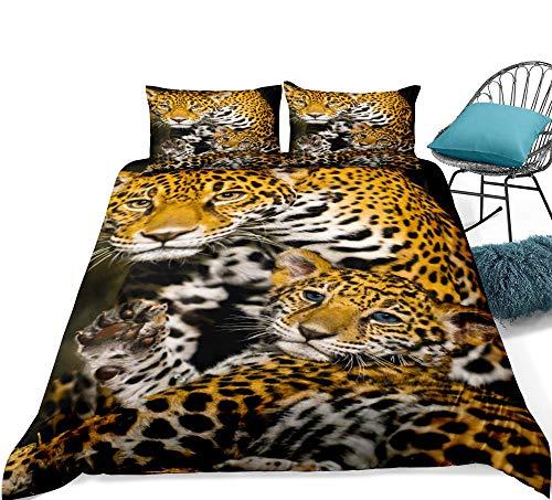 KJHYUI Juego De Cama Familiar De Leopardo 3D Juego De Funda Nórdica Juego De Ropa De Cama De Animales Realistas Textiles para El Hogar 3 Piezas 200×200CM