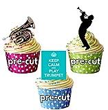 Trompeta de amor, Mantén la calma y el juego de trompeta, silueta de jugadores y Trompeta paquete de fiesta - stand-up comestible mezcla de primeros de la magdalena (36 unidades)