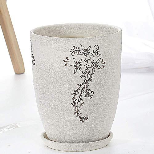 Maceta de cerámica Maceta para plantas Maceta de porcelana para interior / exterior Maceta extragrande, simple, creativa, blanca, de sección alta, maceta para planta grande, aterrizaje interior (Color