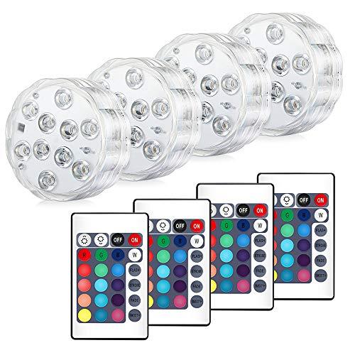 4 Stück Unterwasser Licht,Sporgo Unterwasser Licht LED mit Fernbedienung,10-LED RGB Multi Farbwechsel Wasserdichte LED Leuchten für Vase Base Aquarium Teich Halloween Party Weihnachten