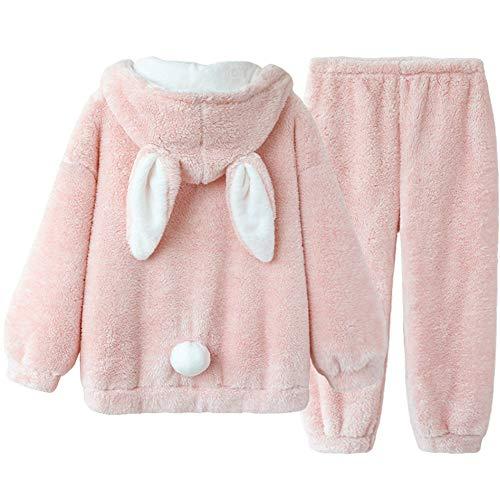 RPP-Pyjama Womens Pyjama Set Loungewear Long Sleeve Coral Fleece Winter Warm Tracksuits Jogging Sportswear(Size:Large)