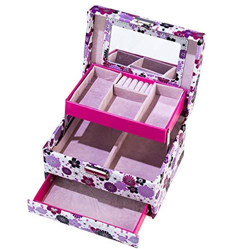 Sac Cosmétique Boîte à Bijoux Trousse De Maquillage Femmes Boîte à Vinaigrette Multi-Fonction en Cuir Portable 18 * 11 * 14cm, D