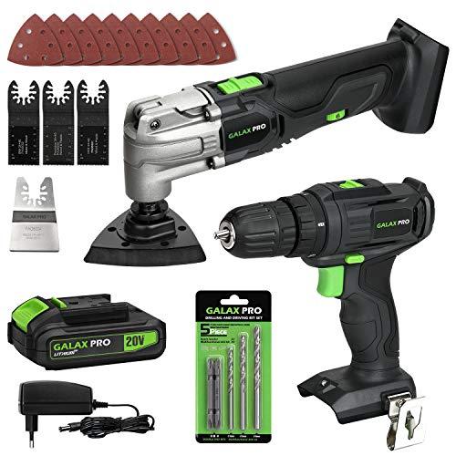 GALAX PRO Multi Tool e Trapano, 30 Nm, 6 Oscillazioni multifunzione con 6 velocità variabili, 5000-19000 OPM con batteria da 20 V e caricatore