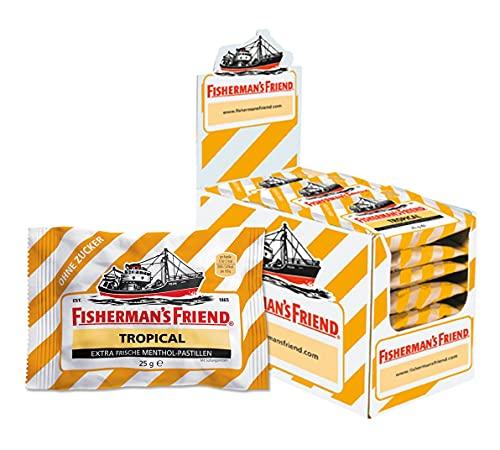 Exklusiv - Fisherman's Friend Tropical | Karton mit 24 Beuteln | Ananas Melone und Guave Geschmack | Zuckerfrei für frischen Atem