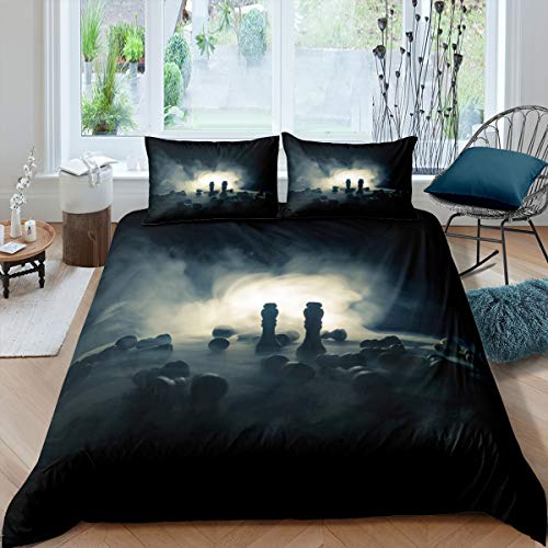 Castle Fairy Silent Struggle International Chess Comforter Cover Sets Twin 3D Chess Print Duvet Set Teens Youngs Microfiber Warmly 2 Pieces Bedding Sets(1 Duvet Cover 1 Pillow case)