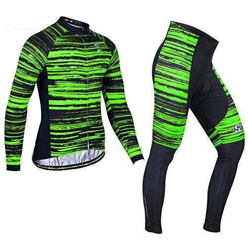 PGone Ensemble de vêtements à vélo à Manches Longues d'hiver - Veste de Veste de Vecteur de vélos de Vélo de la Route de la Route Combo Vélo en Plein air VTT Vêtements de Sport Vert Grain