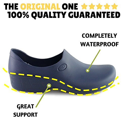 Sticky Comfortable Work Shoes for Women - Nursing - Chef - Waterproof Non-Slip Pro Shoes (Black, 8) Nevada