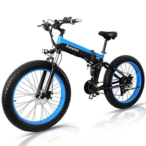 26' Klappbares Elektrofahrrad Herren Damen, E-Bike E-Mountainbike mit 4.0' Fat Tire, 1000W Motor, 48V 15Ah Akku, Shimano 21 Gang-Schaltung