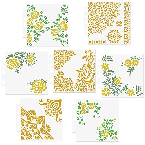 CODOHI 7 Packs Mischtechnik Viertel Mandala Schablonen Set - Wiederverwendbare Floral Mylar Vorlage f¨¹r Holzschilder Kissen Wand Sammelalbum Karte machen DIY Handwerk Schablone - 13x14cm