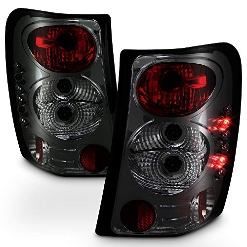 ACANII - For Smoked 1999-2004 Jeep Grand Cherokee Euro Tail Lights Rear Brake Replacement Assembly 2000 2001 2002 3003