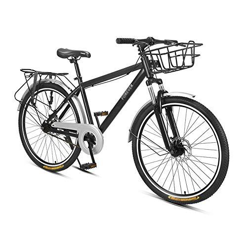 Bicicleta, Bicicleta de Montaña, Bicicleta de CercaníAs de una Sola Velocidad, Cuadro de Acero con Alto Contenido de Carbono, Freno de Disco Doble, Para Adultos Y Adolescentes, Con Estante Traser