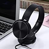 HWZDQLK Game Headphones - 3.5mm Stereo Over-Ear Headset with Line Control and Microphone Gaming Headset Compatible with MP3/4, iPod, Ipad, Computerp (Color : Black)