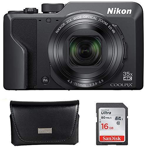 nikon digital cameras compacts Nikon Coolpix A1000 16MP 35x Optical Zoom 4K Compact Digital Camera Bundle with Ultra SDHC 16GB UHS Class 10 Memory Card and All Weather Sport Camera Case with Carabiner
