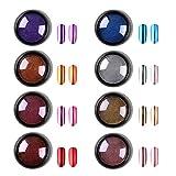 Biutee Glitzerpuder für Nägel in 8 Farben, Chrome Nail Powder Mirror Powder Set Spiegelpulver für Maniküre mit 8pcs Lidschatten Pinsel