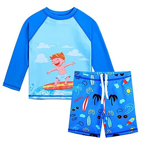 XFGIRLS UV-Schutz Kurzarm Zweiteiliger Boxer-Badeanzug für Jungen oder Mädchen von 0 Monaten bis 6 Jahren