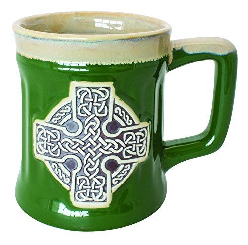 Irish Designed Pottery Mug With A Celtic Cross design, Green Colour