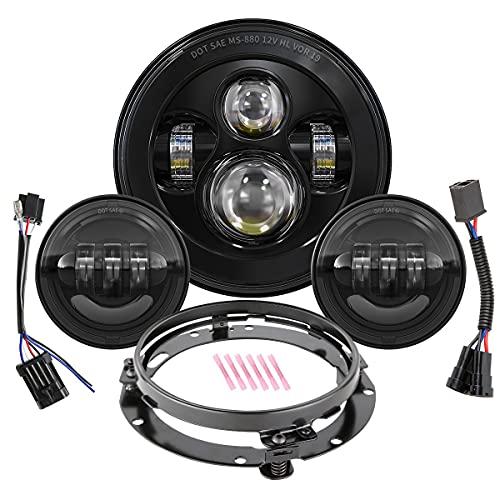 7 Inch Round LED Headlight Bulb kit With 4.5 Inch Passing Lamps Fog Lights Mounting Ring For Street Glide Ultra Classic Road King Electra Glide Heritage Softail Slim Deluxe Fatboy Tri CVO Black