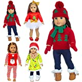 iBayda 4 Sets Christmas Doll Clothes Accessories for 18 inch Dolls American Girl Doll Include Sweater, Dress, Rompers, Outfits, Hat, Scarf, Gloves (No Doll, No Shoes)