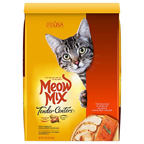Meow Mix Tender Centers Dry Cat Food, Salmon & Chicken Flavors, 13.5 Pounds