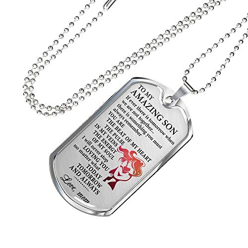 Amazing Son Necklace Dog Tag Custom from Mom - You are The Best of My Heart Pendant for Little Boy from Mother - Gag Gifts 24 Ball Chain with Upgraded Clasp