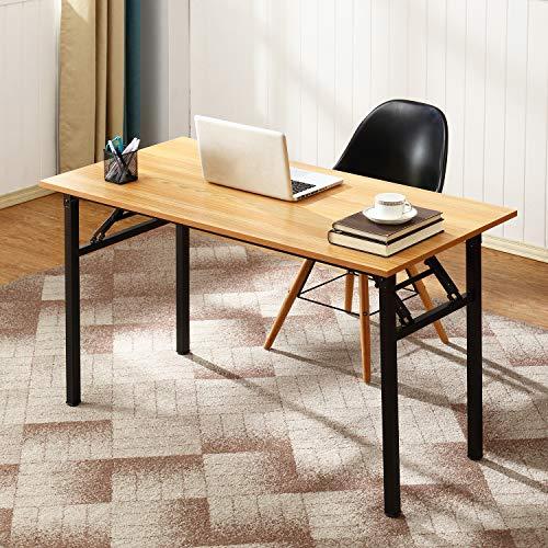 DlandHome Mesa Plegable Mesa de Ordenador 120x60cm Escritorio de Oficina Mesa de Estudio Puesto de Trabajo Mesas de Recepción Mesa de Formación,Teca/Negro