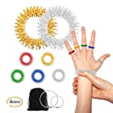 Acupressure Rings and Bracelets Massagers Set for Finger and Hand Wrist Massage Pain