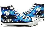 Fairy Tail Logo de Anime Cosplay Zapatos Zapatillas Zapatos de Zapatos de Lienzo Pintado a Mano Luminoso, Azul