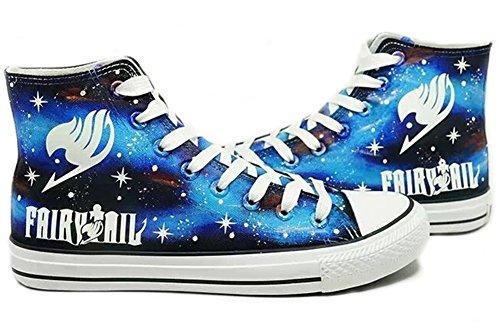 Fairy Tail Logo De Anime Cosplay Zapatos Zapatillas Zapatos De Zapatos De Lienzo Pintado A Mano...