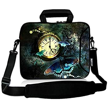 RICHEN 9.7 10 10.1 10.2 inches Messenger Bag Carrying Case Sleeve with Handle Accessory Pocket Fits 7 to 10-Inch Laptops/Notebook/ebooks/Kids tablet/Pad  7-10.2 inch Clock & Butterfly