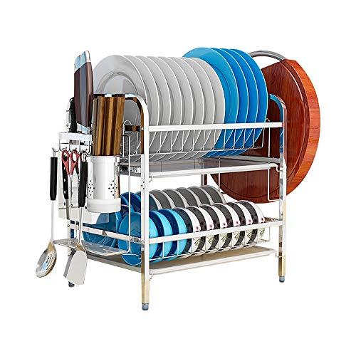 Afdruiprek/Vaat Droogrek Double-layer 304 roestvrij staal Afdruiprek - Cutting Board Rack En Keuken Drain Rack for keuken werkbladen