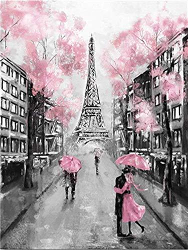 YEESAM ART Neuheiten Malen nach Zahlen Erwachsene Kinder, Eiffelturm Paris Frankreich, Romantische Romantische Straße, Liebe Liebhaber 40x50 cm Leinen Segeltuch, DIY ölgemälde Weihnachten Geschenke