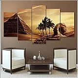 XPJJH Decoración de la habitación Escena de la esfinge de Las pirámides egipcias Cuadro sobre Lienzo Paisaje Famoso Desierto Cielo Fondo Pintura 5 Paneles,B,20 * 30 * 2+20 * 40 * 2+20 * 50 * 1