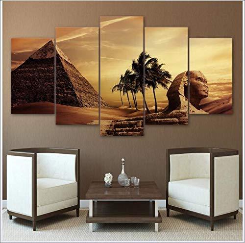 XPJJH Decoración de la habitación Escena de la esfinge de Las pirámides egipcias Cuadro sobre Lienzo Paisaje Famoso Desierto Cielo Fondo Pintura 5 Paneles,B,30 * 50 * 2+30 * 70 * 2+30 * 80 * 1